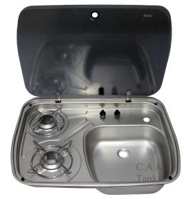 Dometic Cramer 2 Burner Hob / Sink Combination With Glass Lid
